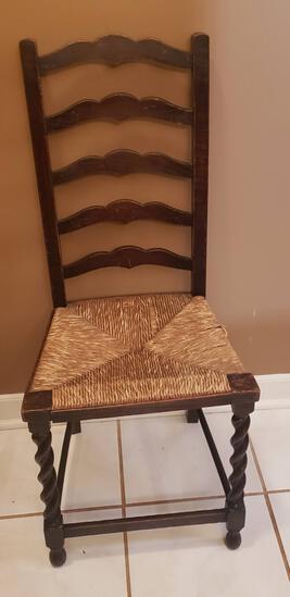 Vintage Ladder Back, Rush Seat Chair
