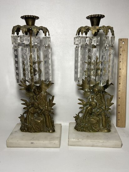 Pair ofExquisiteVictorian Style Brass Girandoles w/Hanging CrystalPrisms& Marble Bases