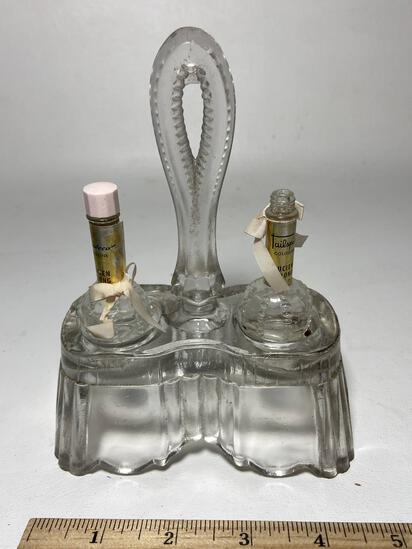 Vintage Glass Perfume Caddy with 2 Small Bottles