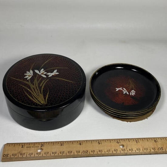 Plastic Coaster Set with Floral Design with Plastic Case