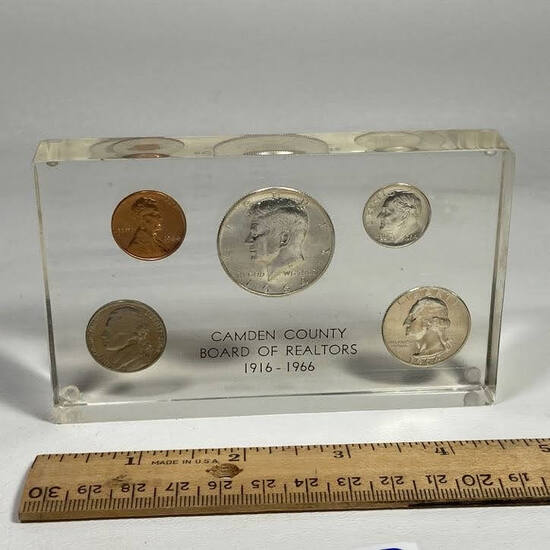 1916-1966 Camden County Board of Realtors Lucite 1964 Coin Set Paperweight