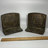 Pair of Vintage Ornate Bookends with Windmill Scene