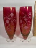 Pair of Cranberry Floral Etched Glass Vases