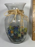 Glass Vase with Many Misc Marbles & Shooters