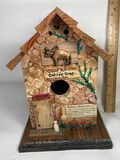 Hand Made Coffee Shop Bird House Signed by Artists