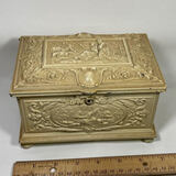 Heavy Metal Hinged & Footed Jewelry Casket with Embossed Victorian Scene