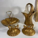 4 pc Hand Decorated 22K Gold Weeping-Bright Gold Candlesticks, Basket & Serving Dish
