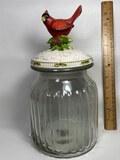 Nice Glass Jar with Cardinal Top by Cracker Barrel