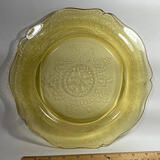 Yellow Depression Glass Plate with Ornate Design