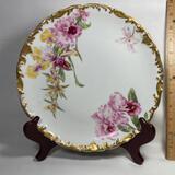 Impressive Limoges France Floral Decorative Plate with Gilt Edge