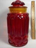 Large Amberina Glass Lidded Jar
