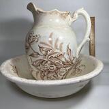 Antique Wash Pitcher & Basin Set with Floral Design