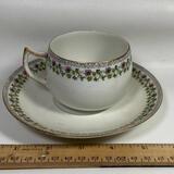S & C Limoges France Tea Cup & Saucer with Floral Vine Design
