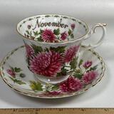 Bone China Royal Albert November Chrysanthemum Tea Cup & Saucer