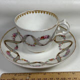 Tea Cup & Saucer with Floral Ribbon Design