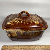 Roseville R.R.P. Co. Brown Drip Casserole Dish with Lid