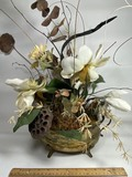Beautiful Artificial Flower Arrangement in Hammered Brass Footed Pot with Double Handles