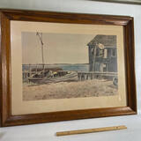Great Beach Scene Lithograph by Hagelman in Wooden Frame