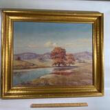 Original Lake Scene Painting Signed by Artist in Gilt Wooden Frame