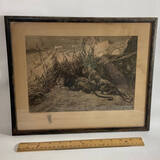 Antique G.F. Rotig Etching of Lion & Lioness with Raised Seal in Frame