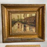 Antique Original Painting Signed F. Gillette of River Scene in Wooden Frame