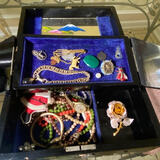 Vintage Black Lacquer Oriental Jewelry Box with Misc Jewelry & Cool Items