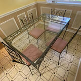 5 pc Wrought Iron Dining Set with Glass Top Table
