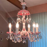 RARE - 1930's Bohemian Chandelier White Cut to Cranberry w/Floral Accent & Matching Bobeches