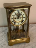 Antique Brass Mantle Clock by Ansonia Clock Co. New York with Keys - Works
