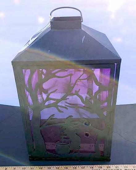Metal Halloween Lantern with Purple Tint Film