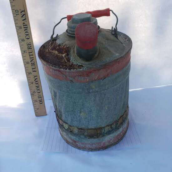 Vintage Metal Gas Can With Red Handle and Trim