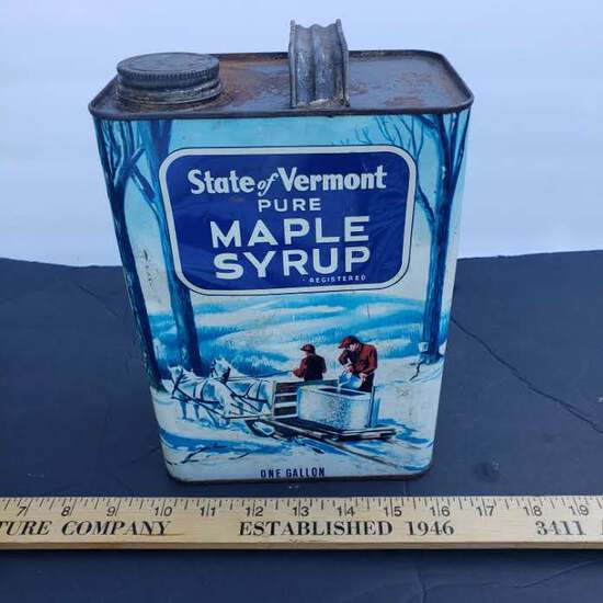 Vintage Vermont Maple Syrup One Gallon Metal Container