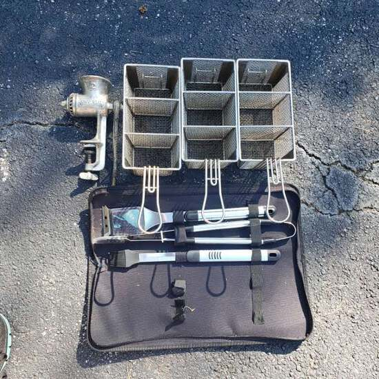 Lot of 3 Fryer Baskets, Grill Tools and Universal No 2 Meat Grinder