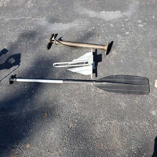Atwood Boat Anchor, Paddle and Vintage Bicycle Pump