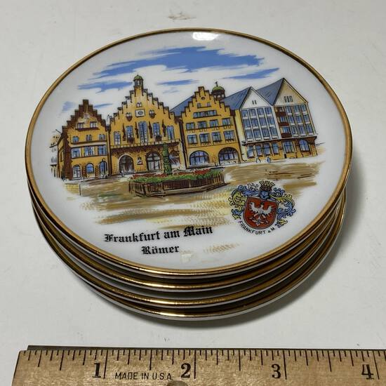 Set of 4 German Porcelain Coasters with 24K Accent