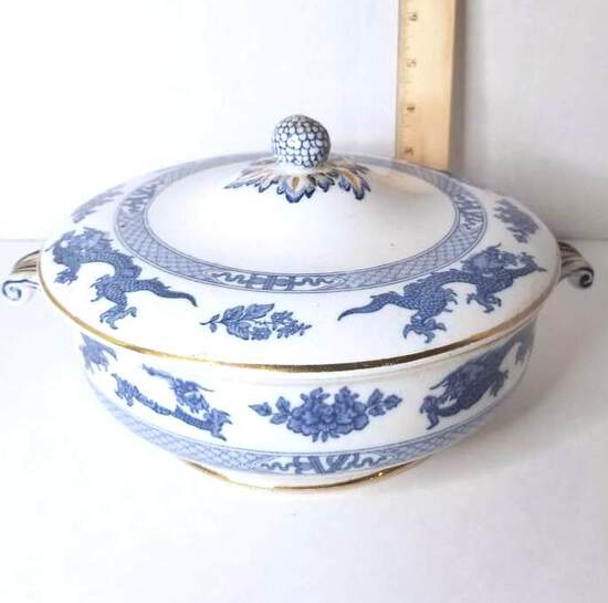 """Vintage """"Booths, England"""" China Blue & White Covered Casserole  w/ Dragon & Gilt Accent"""