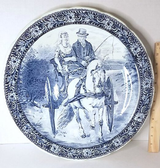 Early Delft Boch Charger w/ Beautiful Horse & Buggy