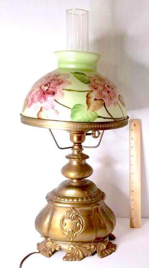 Gorgeous Antique Floral Glass Lamp with Bronze Tone Base