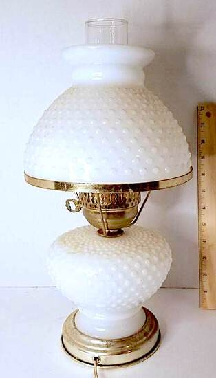 Vintage Hobnail Milk Glass Lamp with Brass Tone Accent