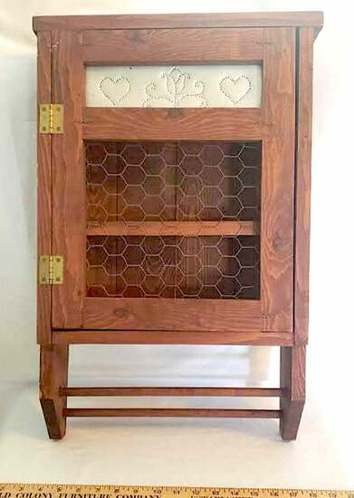 Vintage Wood Wall Hanging Cabinet with Chicken Wire and Punched Tin Front, Towel Bar