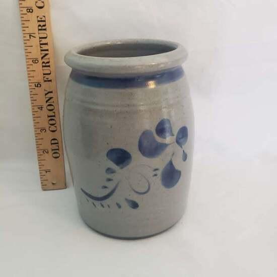 """Art Pottery Vessel w/ Cobalt Leaf Designs & Name """"Beverly"""""""