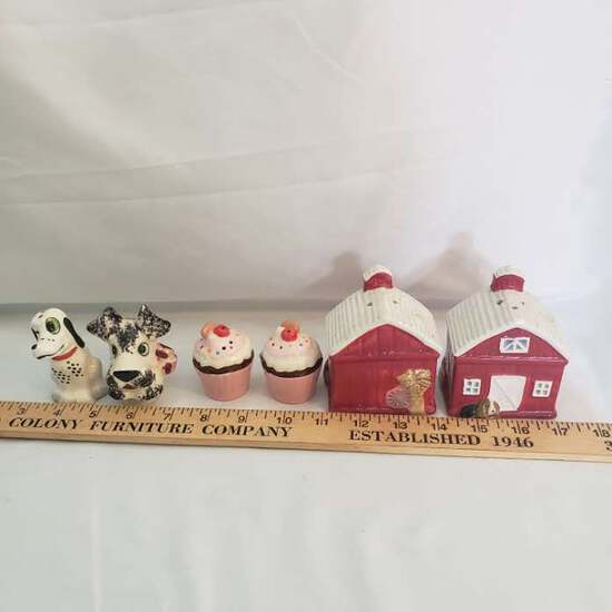 Lot of 3 Sets of Salt and Pepper Shakers