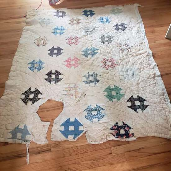 Vintage Handmade Tattered Quilt - Perfect For Crafts