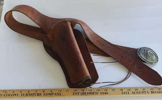 Vintage Leather Gun Holster With Bi-Centennial Eagle Belt Buckle