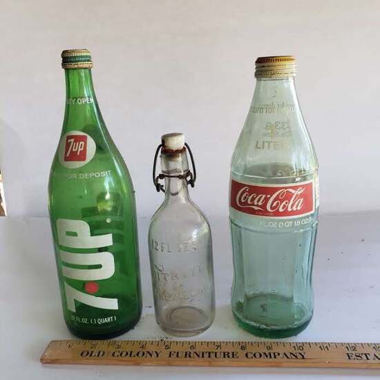Vintage Bottle Lot, Embossed Citrate, 7 UP, Coca Cola