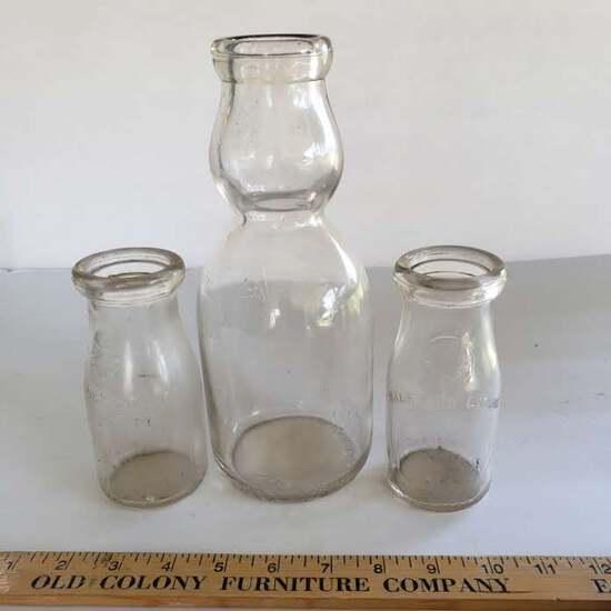 Lot of 3 Vintage Glass Milk Bottles - 2 Half Pints, 1 Quart