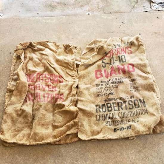 Lot of 5 Robertson's Brand 5-10-10 200 Lbs. Fertilizer Burlap Bags