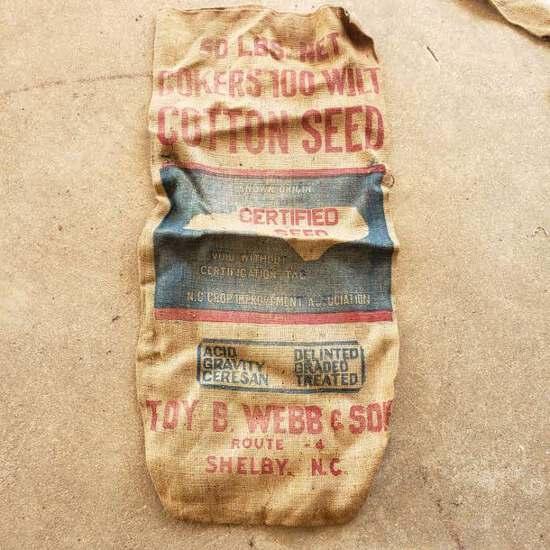 Toy B Webb & Sons, Shelby N.C. 50Lbs Cotton Seed Burlap Bag