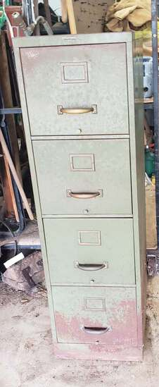 Vintage Army Green 4 Drawer Metal Filing Cabinet