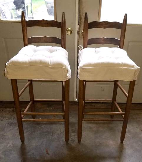 Pair of Ladderback Barstools with Rush Seats & Thick Seat Cushions